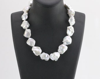 20-25mm Large baroque pearl necklace,white color big size freshwater nucleated pearl necklace,silver bolt ring clasp