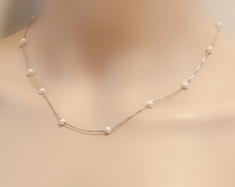 3.5-4mm small seed pearl floating necklace,white pearl illusion necklace,cultured freshwater tiny pearl necklace,bridemaid necklace gift