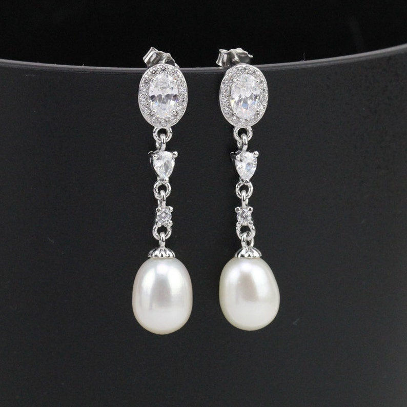 Silver and Crystal Freshwater Bridal Pearl Drop Earrings