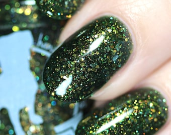 White Tulip - 15 ml - dark green jelly with copper and bronze glitter and shimmer - indie polish by ALIQUID Lacquer