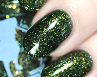 White Tulip -  5 ml mini - dark green jelly with copper and bronze glitter and shimmer - indie polish by ALIQUID Lacquer