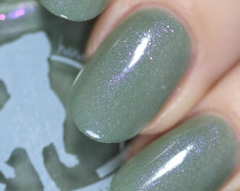 Anomaly XB-6783746 - 5 ml mini - sage green crelly with purple shimmer and iridescent flakies - indie polish by ALIQUID Lacquer