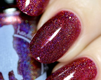 Prepare the Laser! - 15 ml - raspberry red linear holographic with blue sparks and gold flakes - indie polish by ALIQUID Lacquer