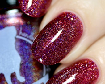 Prepare the Laser! - 5 ml mini - raspberry red linear holographic with blue sparks and gold flakes - indie polish by ALIQUID Lacquer