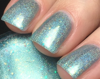 Con-grad-ulations - 5 ml mini - aqua linear holographic with gold flakies and iridescent glitter  - indie polish by ALIQUID Lacquer