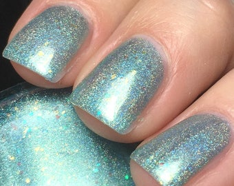 Con-grad-ulations - 15 ml - aqua linear holographic with gold flakies and iridescent glitter  - indie polish by ALIQUID Lacquer