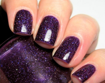 Magpies at Midnight - 15 ml - purple jelly polish with indigo and silver holographic microglitter - indie polish by ALIQUID Lacquer