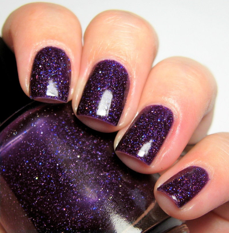 Magpies at Midnight  15 ml  purple jelly polish with indigo image 0