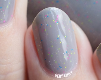Serenity Now, Insanity Later - 15 ml - medium grey crelly with neon microglitter and holo sparkles - indie polish by ALIQUID Lacquer