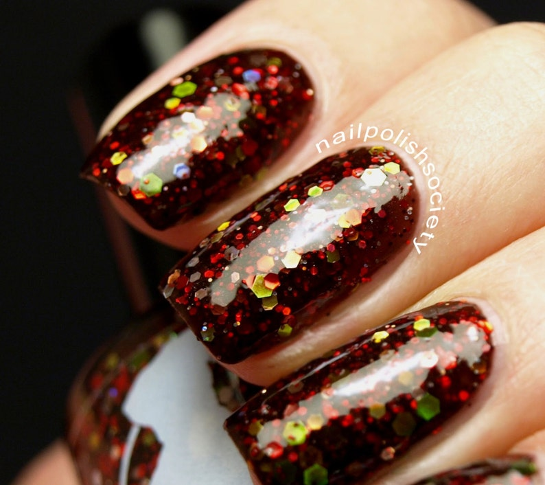 Red Death  15 ml  rusty black jelly polish with red silver image 0