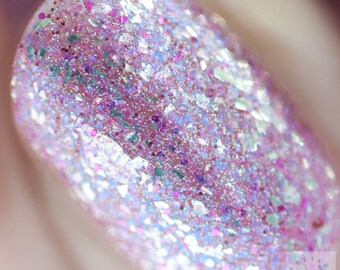 Old Dog, New Tricks - 5 ml mini - holo with magenta and blue microflakies, microglitter, and silver flakes - indie polish by ALIQUID Lacquer