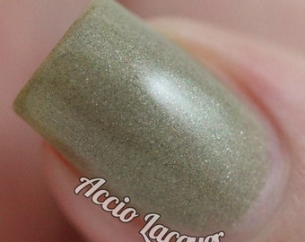 Petoskey Stone - 5 ml mini - warm grey polish with green, gold, brown and holo shimmer - indie polish by ALIQUID Lacquer