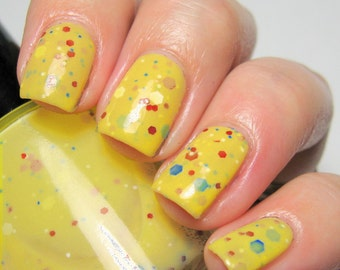 Fairest One of All - 15 ml - yellow crelly polish with red, blue and white glitter - indie polish by ALIQUID Lacquer