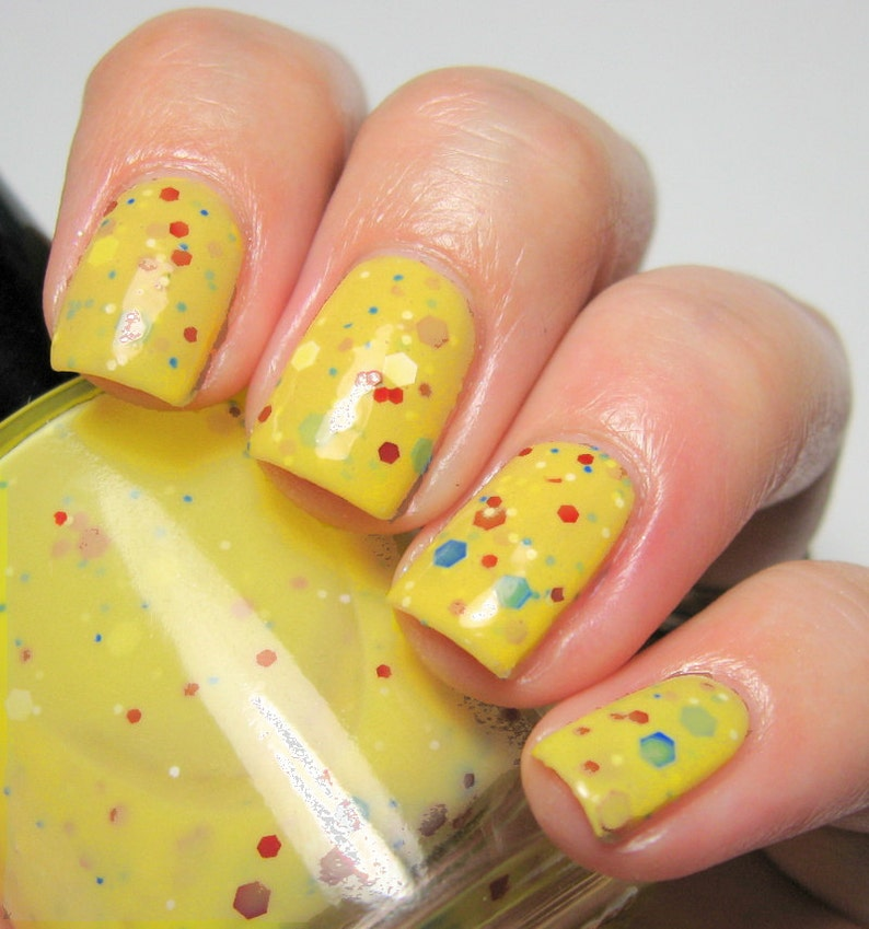 Fairest One of All  5 ml mini  yellow crelly polish with image 0