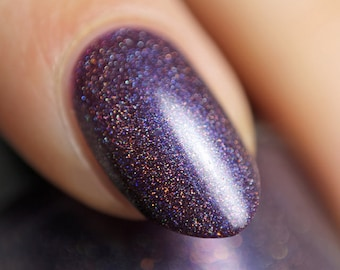 Unending Night - 15 ml - blackened blue-purple linear holographic polish with copper and red sparks - indie polish by ALIQUID Lacquer