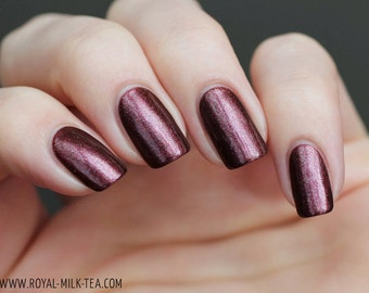 Day Shall Come Again - 5 ml mini - burgundy-red-orange-yellow multichrome with green and copper sparks - indie polish by ALIQUID Lacquer