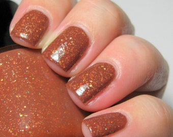 Equus October - 5 ml mini - chestnut brown crelly with gold and copper microglitter - indie polish by ALIQUID Lacquer