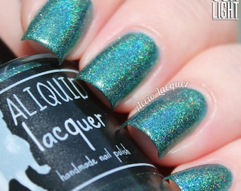 Hidden City - 15 ml - forest green linear holographic with gold, copper and bronze flecks - indie polish by ALIQUID Lacquer