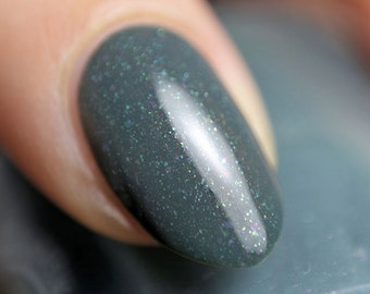 Forever and a Day - 5 ml mini - dark teal-grey polish with green and purple flecks and red-brown shimmer - indie polish by ALIQUID Lacquer