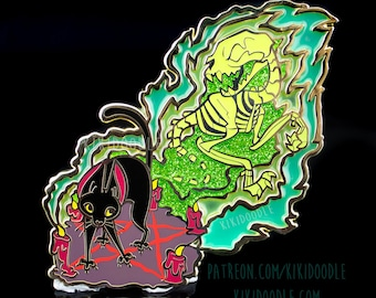 """Necromeowncer Spooky Glow In The Dark Stained Glass Necromancer Black Cat Halloween Gold Metal hard Enamel Pin 3.5"""""""