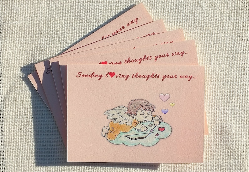 sending loving thoughts valentines cards cute cupid  etsy