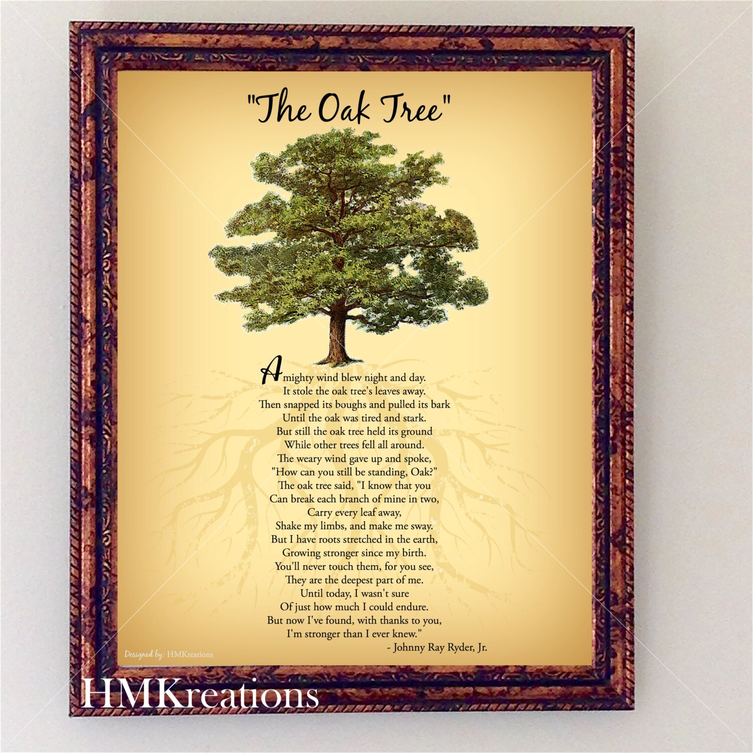 Oak Tree Poem Encouraging Tree Poem Quote Nature Wall Art | Etsy