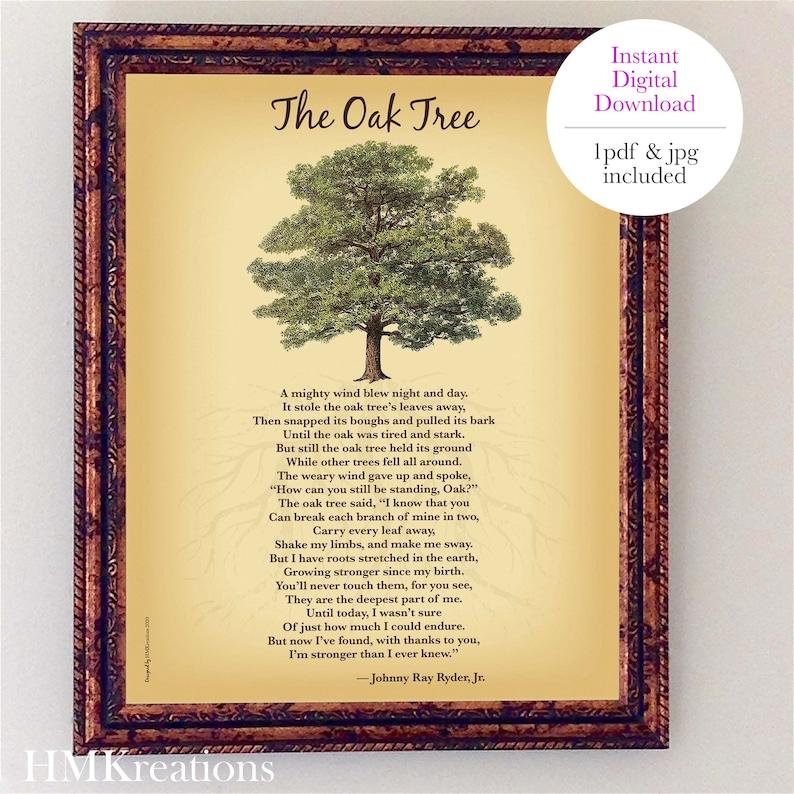 Oak Tree Poem  Inspirational Printable Art  Nature Wall Art image 0