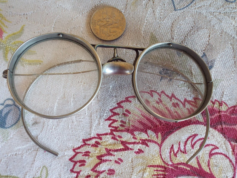Antique Goggle Glasses Patented Fits U Protector with Metal Case--- Gomez Adams Would Die For These!