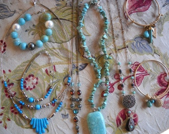Nice lot of Turquoise...Turquoise Crazy...... 4 Necklaces and 4 Bracelets Matching Beautiful