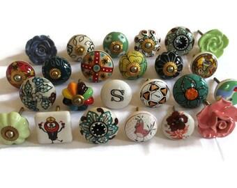 knoppen set keramische knoppen verschillende vorm knoppen assortiment knoppen shabby chic knoppen antieke knoppen set van 24 knoppen idkb028