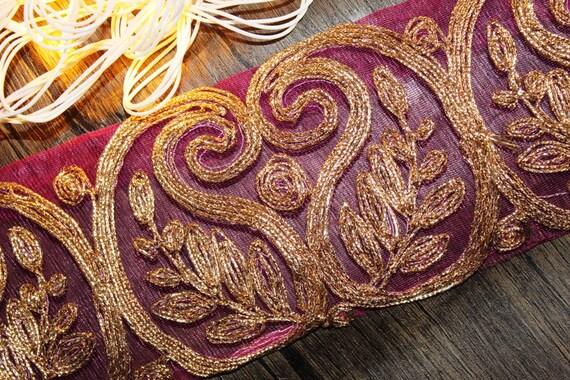 3c7cd181f018 Pink Zari Work Trim Fabric Wide scarf Lace Pink Indian Trim Zari work wide  trim Handwork Lace-Width 06 cm-Price For 01 Yard-IDL367