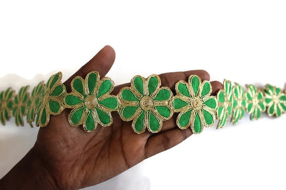 Sari Border Green Trimmings Bridal Supplies Sewing Trims For Etsy Best Decorative Trim For Pillows