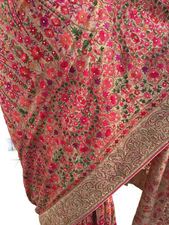 piece saree exclusive georgette pure wear handwork cashmere blouse original for ids01 saree 01 saree price qzwOY
