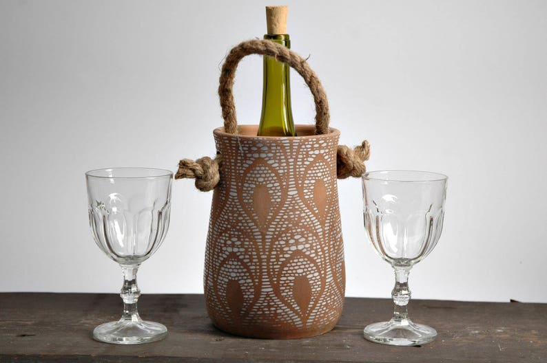 Pottery wine Cooler, Terracotta Wine Cooler, wine accessory, wine serving,  rustic pottery, Garlic pot