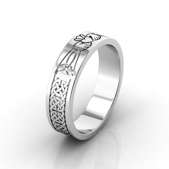 Wedding Ring Irish Celtic Claddagh Wedding Ring Crafted In Etsy