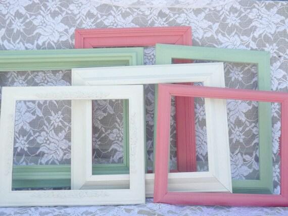 HD 15 Painted Vintage Frame Set, Green Frames, Cream Frames, Coral ...