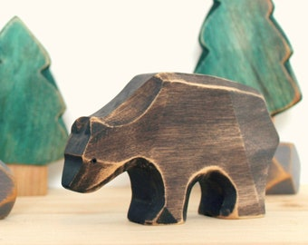 ONE BROWN BEAR, wooden toy, play kit, eco-friendly toy, forest animal