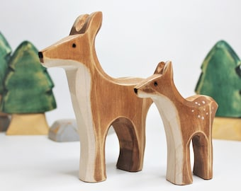 Wooden doe, fawn toy, wooden toy, baby's room decoration, forest