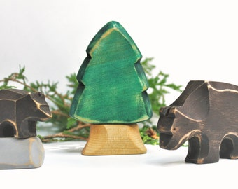 Play set brown bear, wooden toy, play kit, eco-friendly toy, forest animal