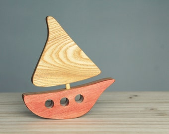 Wooden boat, wooden toy, baby's room decoration, ocean, sea, turquoise