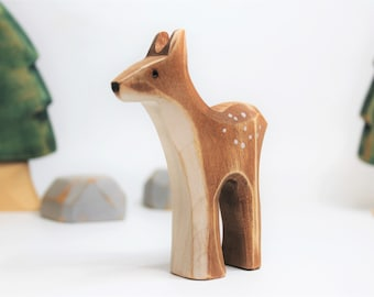 Wooden fawn toy, wooden toy, baby's room decoration, forest