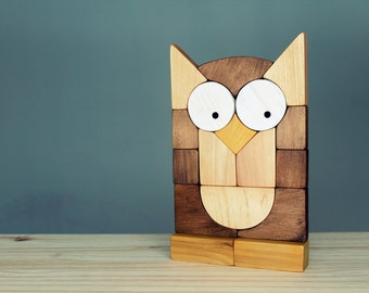 Owl blocks puzzle, wooden blocks, stacking toy