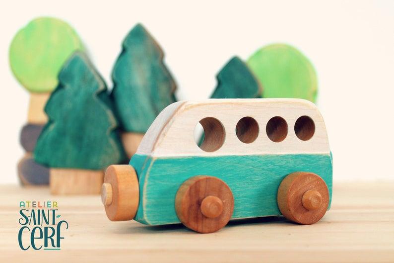 Vintage camper wooden toy caravan toy little car image 0