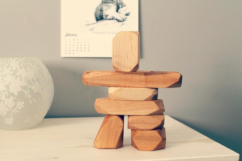 Wooden Inukshuk wooden blocks stackable toy Inuit art image 0