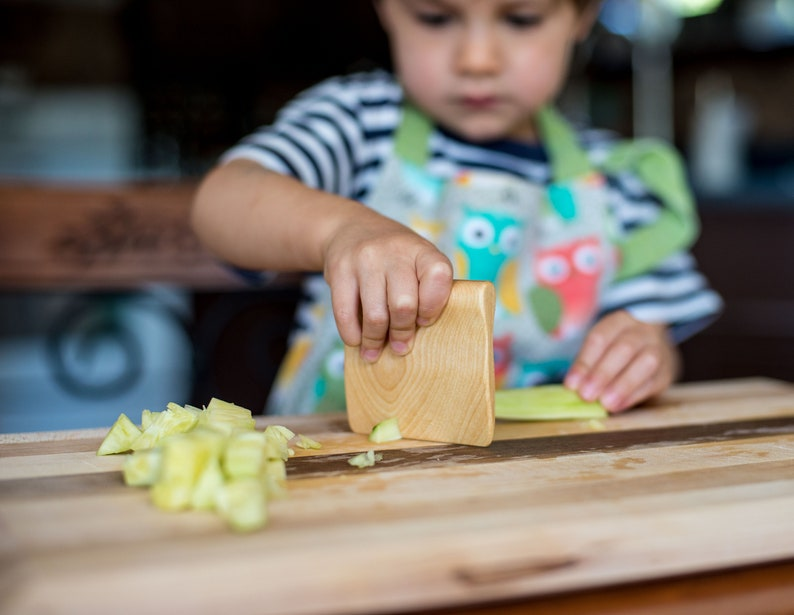 Safe wooden knife for kids kitchen toy vegetable and fruit image 0