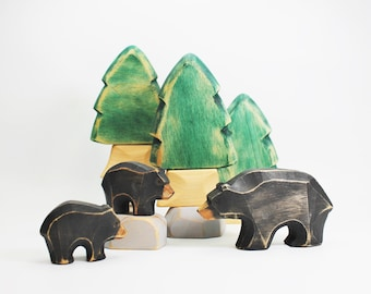 Black bear with baby, wooden toy, play kit, eco-friendly toy, forest animal