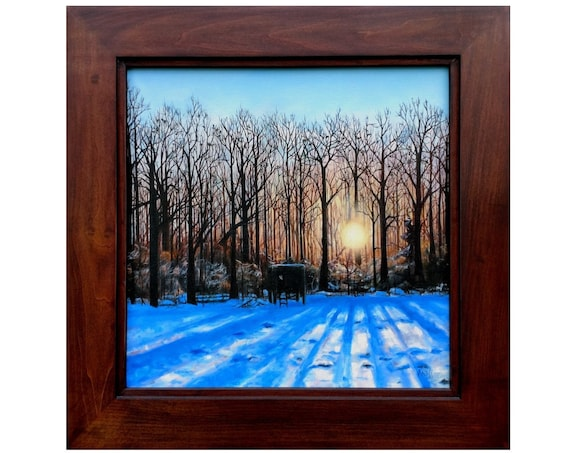 "Framed Original Oil Painting - Sunset Through Winter Trees - 20"" x 20"" in Blue, Black - Woodland Landscape - American Artist"