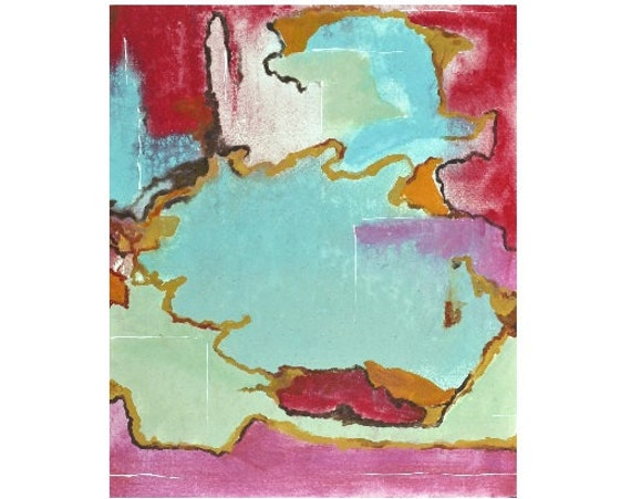 "Original Painting Modern Abstract Expressionist Fine Art - Red, Pink, Turquoise - 20"" x 24"" Canvas"