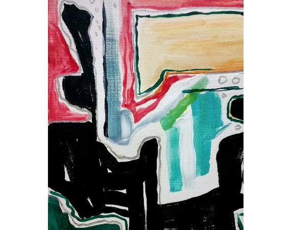 "Small Modern Abstract Expressionist Art Original Painting in Acrylic - 6"" x 8"""