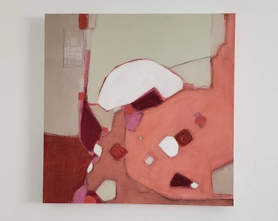 Original Abstract Expressionist Painting - pink coral greige white brick red - Square 24 x 24 w/ Painted Edges - Kami Noland